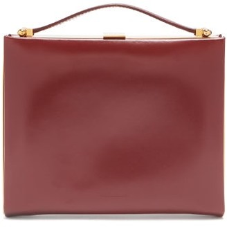 Jil Sander Metal-frame Leather Clutch Bag - Burgundy