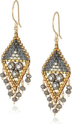 Miguel Ases Triple Swarovski Cluster Open Trillion Dangle Wrap Drop Earrings