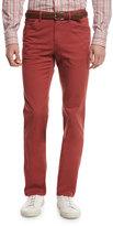 Brioni Five-Pocket Twill Pants, Red