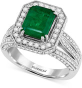 Effy Emerald (2-1/5 ct. t.w.) and Diamond (1-1/10 ct. t.w.) Ring in 14k White Gold