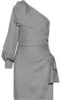 Zimmermann Maples Bow One-shoulder Ribbed Striped Mini Dress - Black