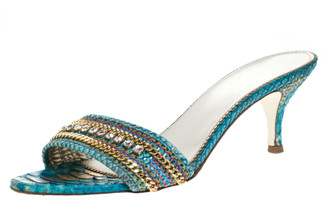 Loriblu Two Tone Blue Python Leather Crystal And Chain Embellished Slide Mules Size 39