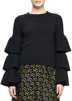 Co Knit Ruffle-Sleeve Sweater, Black