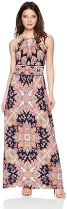 London Times Women's Petite Keyhole Halter Inset Waist Maxi Dress