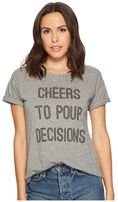 Original Retro Brand The Cheers To Pour Decisions Slub T-Shirt (Mock Twist Heather Grey) Women's T Shirt
