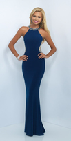 Blush Lingerie Bedazzled Halter Jersey Illusion Gown 11039