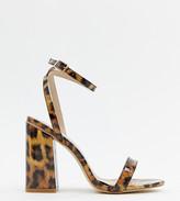 Raid Wide Fit RAID Wide Fit Enya leopard print patent block heeled sandals