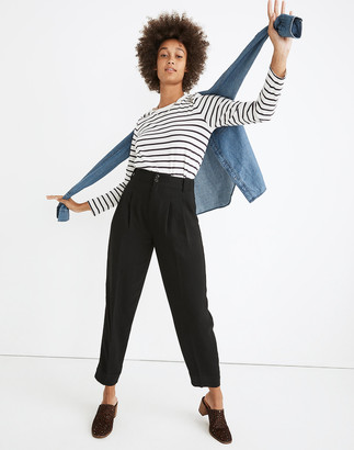 Madewell Drapey Pleated Taper Wide-Leg Pants