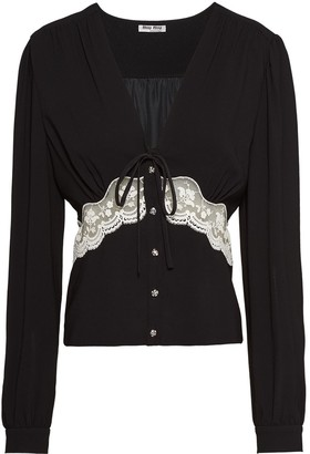 Miu Miu Lace Insert Longsleeved Top