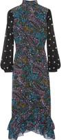 Saloni Isa ruffle-trimmed printed silk-crepe midi dress