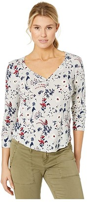 Lucky Brand All Over Printed Thermal Top (Grey Multi) Women's Clothing