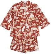 Short Safari Pyjamas in Protea Red