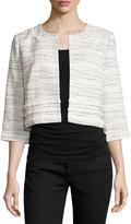 Karl Lagerfeld 3/4-Sleeve Tweed Jacket, Blanca Multi