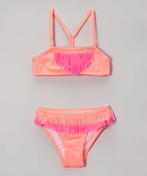 Jantzen Pink Electric Youth Ombré Fringe Bikini - Girls