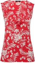 M&Co Sleeveless floral frill front top