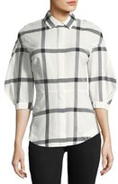 Derek Lam 10 Crosby Long-Sleeve Button-Down Check-Print Shirt w/ Lace-Up Back
