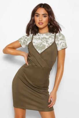boohoo Tie Dye T-shirt Layed Slip Dress