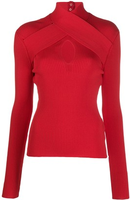 MSGM Crossover-Strap Knitted Top