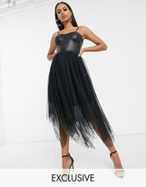 Femme Luxe exclusive corset top layered tulle midi dress in black