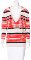 Tory Burch Striped Hooded Sweater
