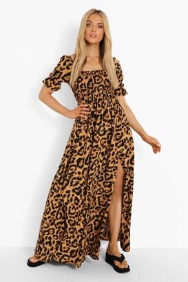 boohoo Leopard Square Neck Shirred Maxi Dress