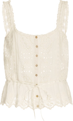 LoveShackFancy Luanne Broderie Anglaise Cotton Top