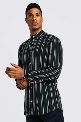 boohoo Vertical Stripe Long Sleeve Shirt
