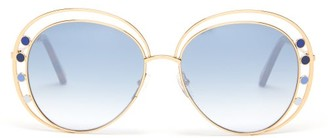 Chloé Delilah Round Double-frame Metal Sunglasses - Womens - Blue Gold