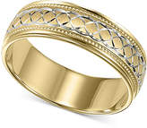 Macy's Men's 10k Gold and 10k White Gold Ring, Engraved Wedding Band