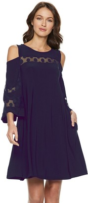 Nina Leonard Women's Lace Cold-Shoulder Shift Dress