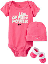 Nike Baby Girls' 3-Piece Pure Power Bodysuit, Hat & Booties Set
