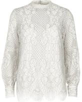 River Island Womens White high neck lace long sleeve top