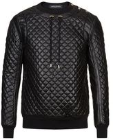Balmain Quilted Leather Jumper