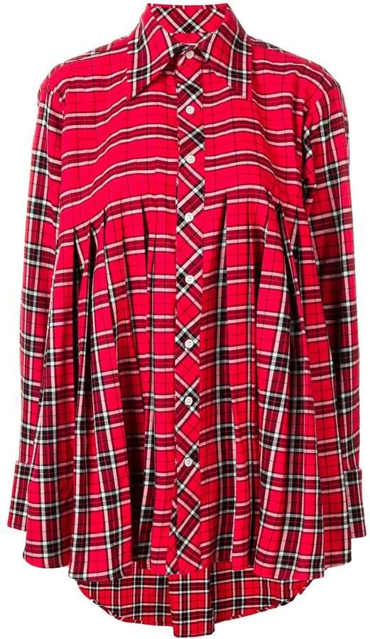 2d6b6b25c1 Matthew Adams Dolan pleated check flannel shirt