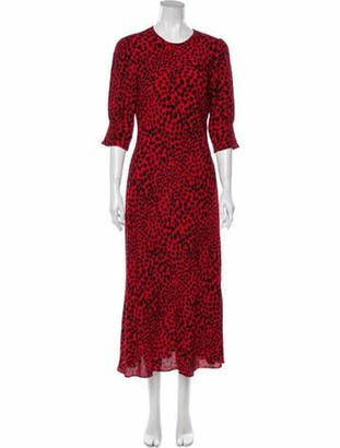 Rixo Animal Print Midi Length Dress Red Animal Print Midi Length Dress