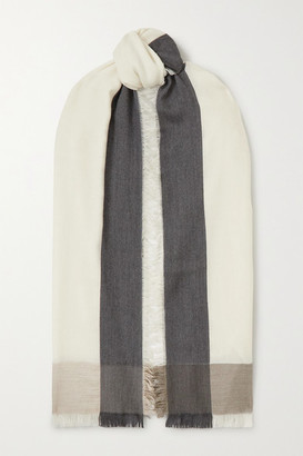 Loro Piana Fringed Color-block Cashmere And Silk-blend Scarf - White