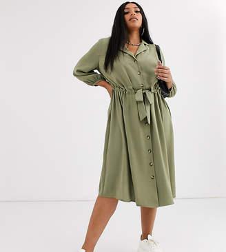 Asos DESIGN Curve button through midi shirt dress with ruched waist-Green