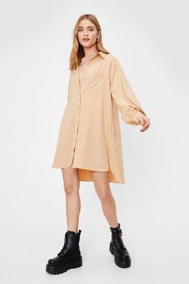 Nasty Gal Womens Where Grid You Go Oversized Shirt Dress - Sand
