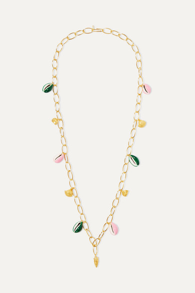 Aurelie Bidermann Panama Gold-plated, Shell And Enamel Necklace