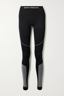 Paco Rabanne Paneled Tech-jersey Stirrup Leggings - Black