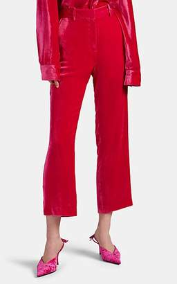 Sies Marjan Women's Willa Silk-Cotton Corduroy Crop Trousers - Pink