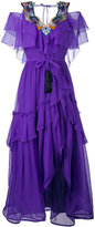 Alberta Ferretti layered embroidery dress - women - Silk/Acetate/other fibers - 38