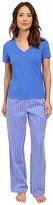 Lauren Ralph Lauren Short Sleeve Knit Top w/ Woven Pant Pajama Set