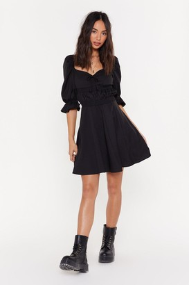 Nasty Gal Womens Boom Or Bust Puff Fit & Flare Dress - Black - L, Black