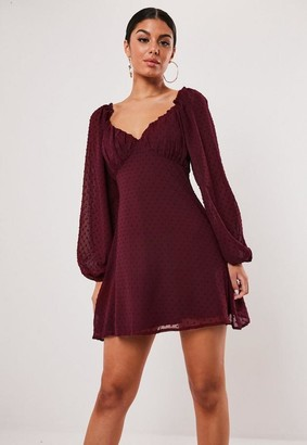 Missguided Wine Dobby Milkmaid Mini Dress