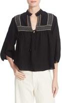 Apiece Apart Women's Loreto Embroidered Cotton Blouse
