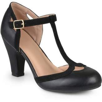 Brinley Co. Women's Medium and Wide Width Cut Out Round Toe T-strap Two-tone Matte Mary Jane Pumps