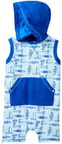Coccoli Sailboat Print Hooded Sleeveless Romper (Baby Boys)