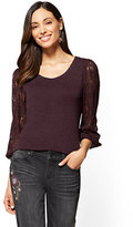 New York & Co. Lace-Sleeve Scoopneck Sweater