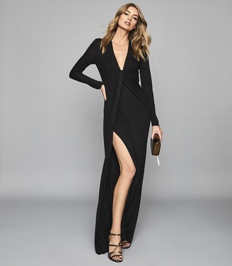 Reiss Harlyn - Plunge Twist Front Maxi Dress in Black
